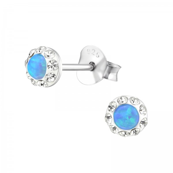 Opal and Semi Precious Ear Studs ES-APS1884-PP5-OP AZURE/31173