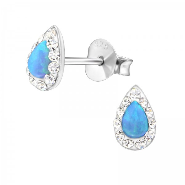 Opal and Semi Precious Ear Studs ES-APS1897 CRY/AZURE/31050