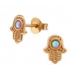 Silver Hamsa Ear Studs with Opal, #38509