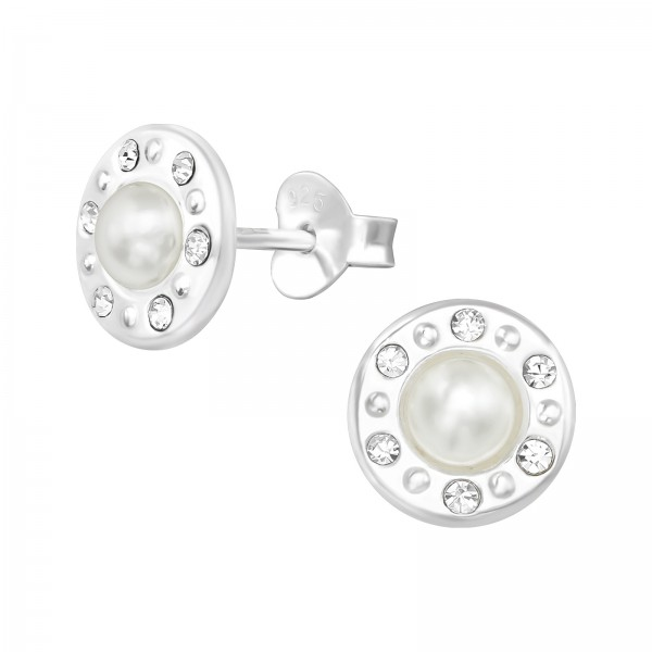 Pearl Ear Studs ES-APS4157-PPL4 CRY/WH/38779