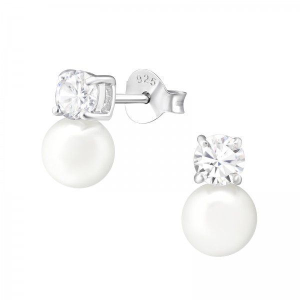 Pearl Ear Studs ES-JB5505-PPL6 CRY/WH/37533