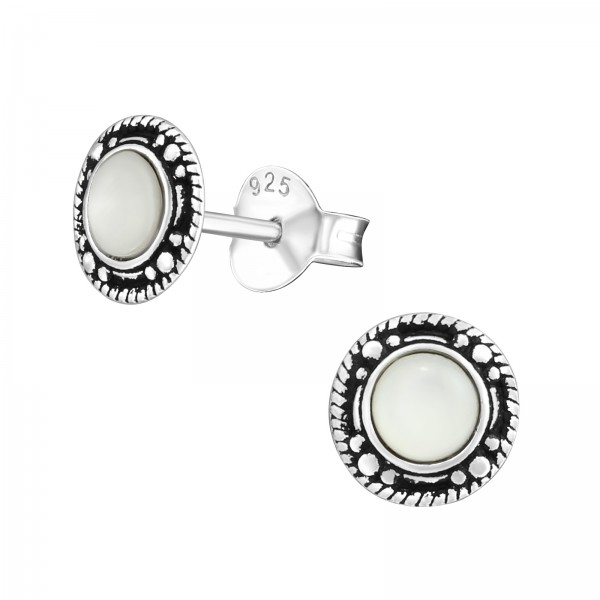 Plain Ear Studs ES-APS2445-SHELL OX/31672