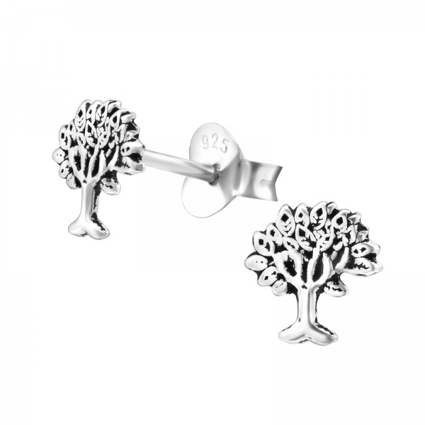e3404748c Silver Tree Of Life Ear Studs - 28243 | ELF925