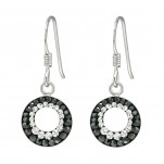 Silver Round Earrings with Crystal, #41038