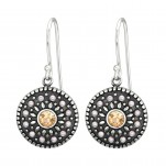 Silver Round Earrings with Synthetic Pearl and Crystal, #41037