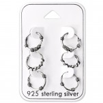 Silver Bali Hoops Set on Card, #28465
