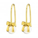 Silver Bow Earrings with Synthetic Pearl, #37501