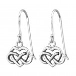 Silver Celtic Heart Earrings, #31420