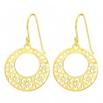 Silver Laser Cut Flower Earrings, #40581
