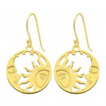 Silver Laser Cut Moon and Sun Earrings, #40579