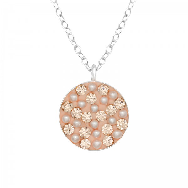Jeweled Necklace FORZ25-TOP-CCRD72 LT.PEACH/41013