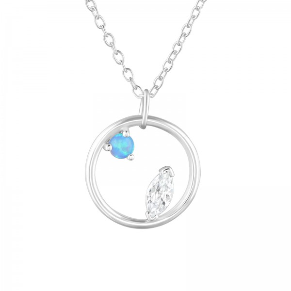 Jeweled Necklace FORZ25-TOP-JB11370 AZURE/CRY/36830