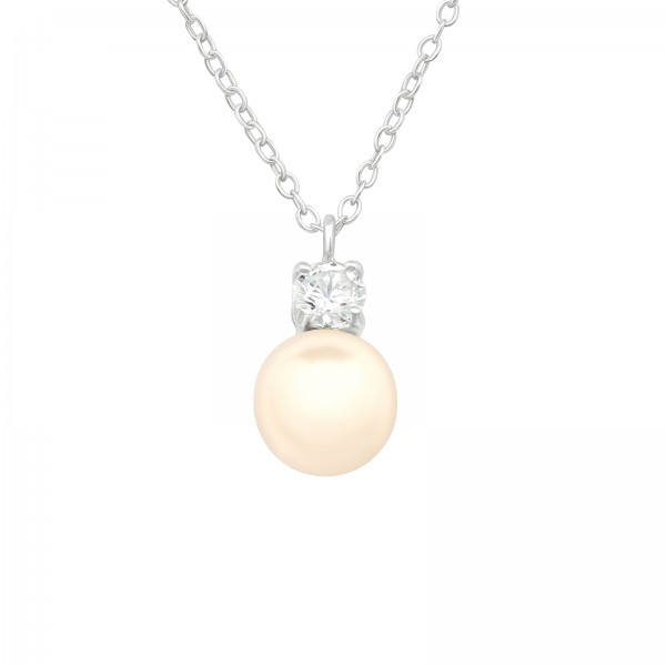 Jeweled Necklace FORZ25-TOP-JB5505-PPL8 CRY/LT.PEACH/40688
