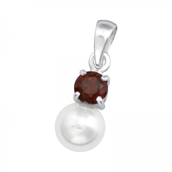 Jeweled Pendant PD-JB5505-PPL6 GAR/WH/36431