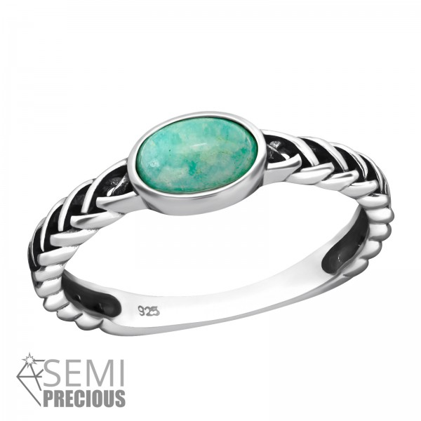 Jeweled Ring RG-JB8597-S-OX AMAZONITE/39248