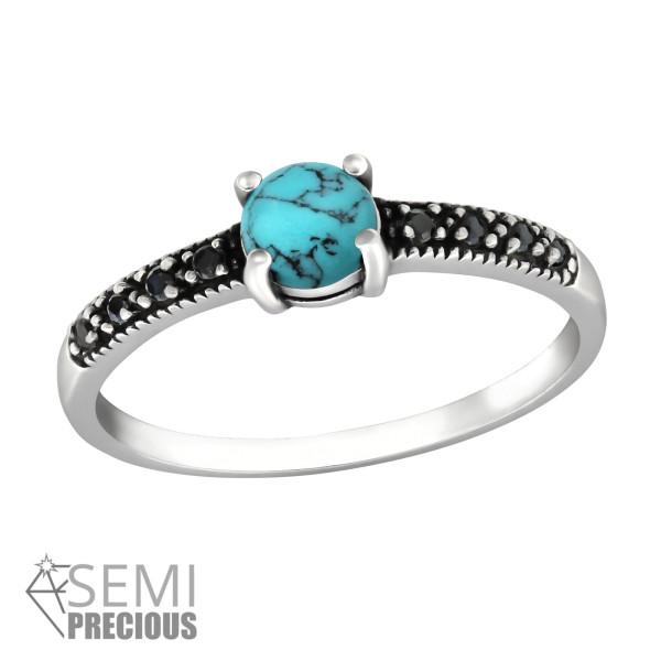 Jeweled Ring RG-JB9363-S-OX TQ/BK.SPN/35606