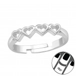 Silver Heart Link Midi Ring, #39658