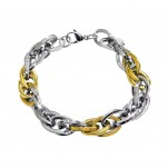 Gold and High Polish Surgical Steel Chain Bracelet, #9610
