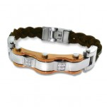 Rose Gold and High Polish Surgical Steel Combined Bracelet for Men, #1888