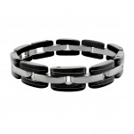 Black and High Polish Surgical Steel Cuff Bangle Bracelet for Men, #7705