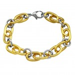 Gold and High Polish Surgical Steel Chain Bracelet for Men, #4323