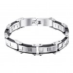 Black and High Polish Surgical Steel Handcuff Bracelet for Men, #9802