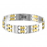 Gold and High Polish Surgical Steel Link Bracelet for Men, #10897