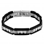 Black and High Polish Surgical Steel Link Bracelet, #2519