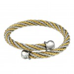 Two Tone Surgical Steel Twisted Bracelet for Women, #31821