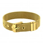 Gold Surgical Steel Belt Buckle Mesh Bracelet for Women, #37733