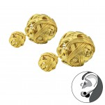 Gold Surgical Steel Knot Double Earrings, #34272