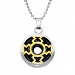 Black, Gold and High Polish Surgical Steel Round Necklace, #28436