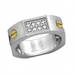 High Polish and Gold Surgical Steel Band Ring, #7727