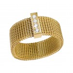Gold Surgical Steel Patterned Ring with Crystal, #17372