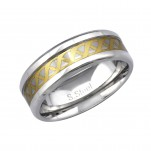 High Polish and Gold Surgical Steel Celtic Ring, #34153
