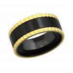 Gold and Black Surgical Two Tone Steel Ring, #37721