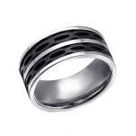 High Polish and Black Surgical Steel Line Ring, #22793