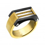 High Polish and Black Surgical Steel Band Ring, #22791