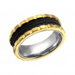 Gold, Black and High Polish Steel Band Ring, #22802