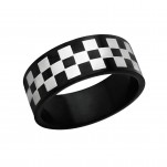Black and High Polish Surgical Steel Checkered Ring, #1222