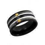 Black, Gold and High Polish Surgical Steel Line Ring, #1924