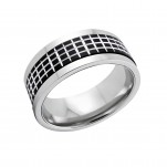 High Polish and Black Surgical Steel Patterned Ring, #5098