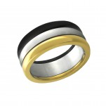 High Polish Black and Gold Triple Tone Surgical Steel Line Ring, #7759