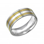 High Polish and Gold Surgical Steel Band Ring, #31851