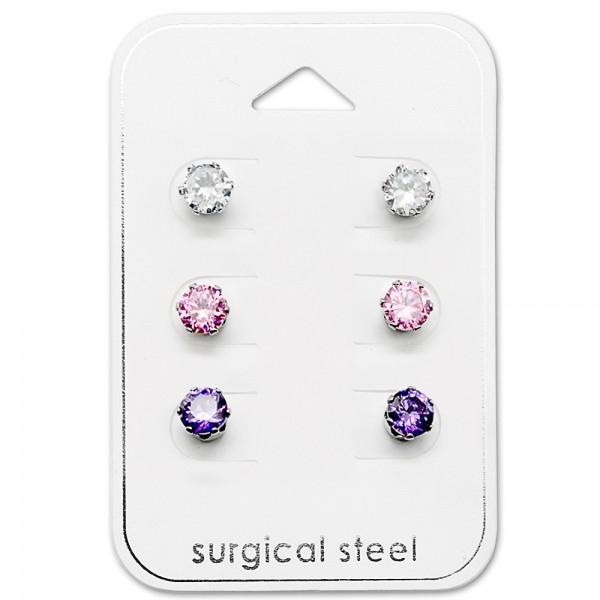 Set & Jewelry on Card SES-055-5SS-CRY-PK-AM/29037