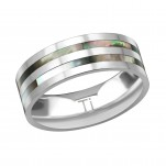 Titanium Double Line Ring with Imitation Abalone, #38558